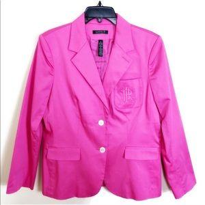 LAUREN RALPH LAUREN Hot Pink Logo Pocket Blazer 8